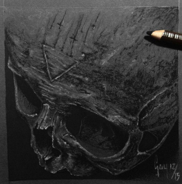 """Charcoal Drawing """"Stigmata"""" by Guy Labo-O-Kult"""
