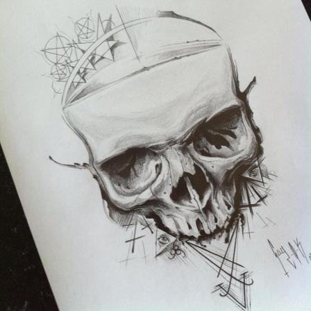 "Pencil Drawing ""Symbols Skull"" Guy Labo-O-Kult"