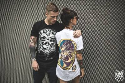 "TFB (Tattoo Fest Branding"" model posing with ""O Tempus Edax"" t-shirt"