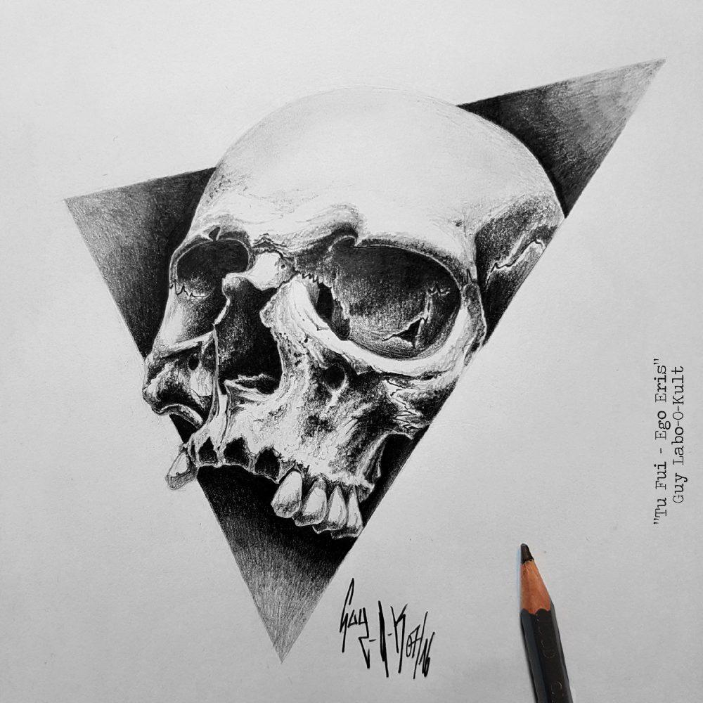 "Charcoal Drawing ""Tu fui, ego eris"" by Guy Labo-O-Kult"