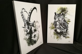 Capra Ibex & Bubo Bubo | HelvEdition Limited Edition Canvas Prints