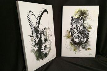 Capra Ibex & Bubo Bubo | HelvEdition Limited Edition Canvas Prints