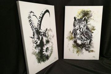 Capra Ibex & Bubo Bubo   HelvEdition Limited Edition Canvas Prints