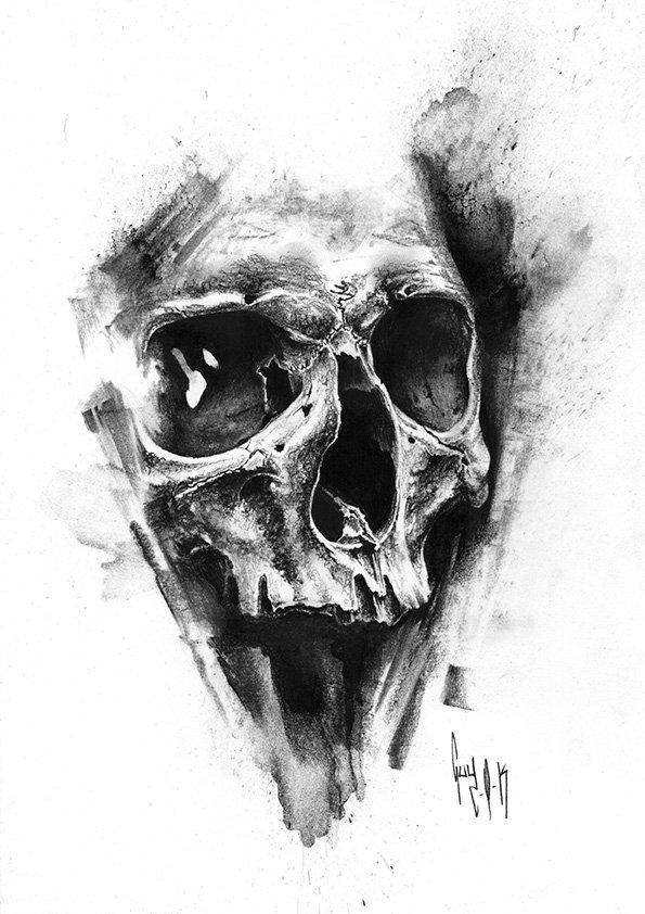 pulvis es - #765 — Dessin au charbon | Charcoal Drawing | Kohlezeichnung Guy Labo-O-Kult | FINE ART PRINTS AVAILABLE