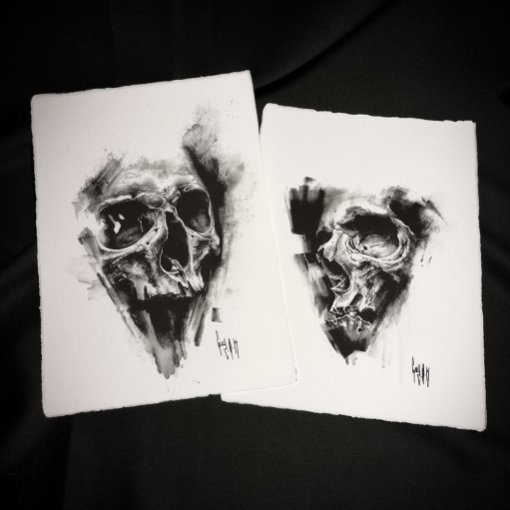 pulvis es – Dessin au charbon   Charcoal Drawing   Kohlezeichnung Guy Labo-O-Kult   FINE ART PRINT