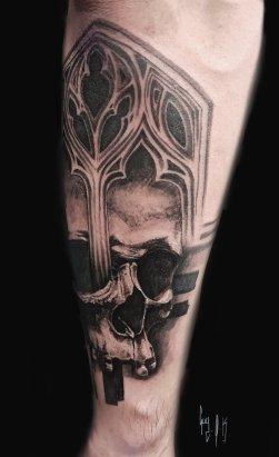 Skull graphique-gothique par Guy Labo-O-Kult   fait @ Besançon Tattoo Show 2018