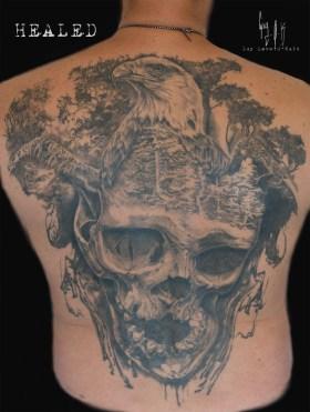 Tatouage Cicatrisé - Pygargue par Guy Labo-O-Kult