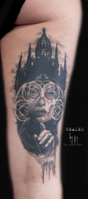 Abgeheiltes Tattoo - Catrina Same Same but different kreiert von Guy Labo-O-Kult