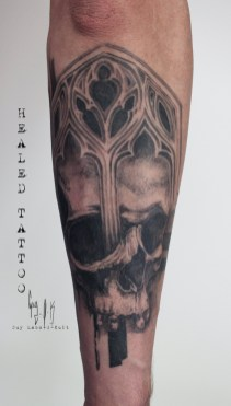 HEALED TATTOO - Gothic-Skull tattoo done by Guy Labo-O-Kult during Besançon Tattoo Show 2018