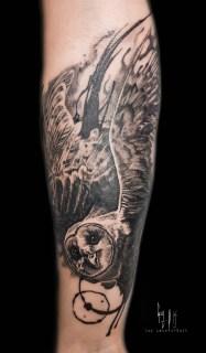 Chouette tatouage fait par Guy Labo-O-Kult lors de la convention de Montreux 2018