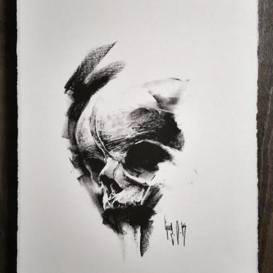 Imprimé sur papier vergé avec comme motif un crâne (#748) de la série Pulvis Es