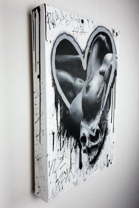 """Tableau original """"Is that love?"""" de Guy Labo-O-Kult (peinture acrylique sur toile)"""