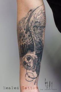 Harfang des neiges - Tatouage cicatrisé crée et tatoué par Guy Labo-O-Kult