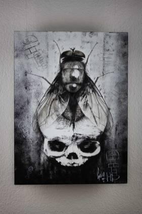 """Tableau original """"BirthDeath – and the way in between"""" de Guy Labo-O-Kult (peinture acrylique sur bois)"""
