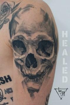 """Skull """"Pulvis Es"""", Charcoal Style   Guy Labo-O-Kult"""