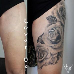 Cover up mit Rosen einer grossen Narbe