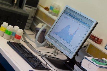 Graphe granulométrique indiquant la répartition des particules en fonction de leur taille dans un sédiment, afin d'en définir sa composition : argiles, limons, sable, ...