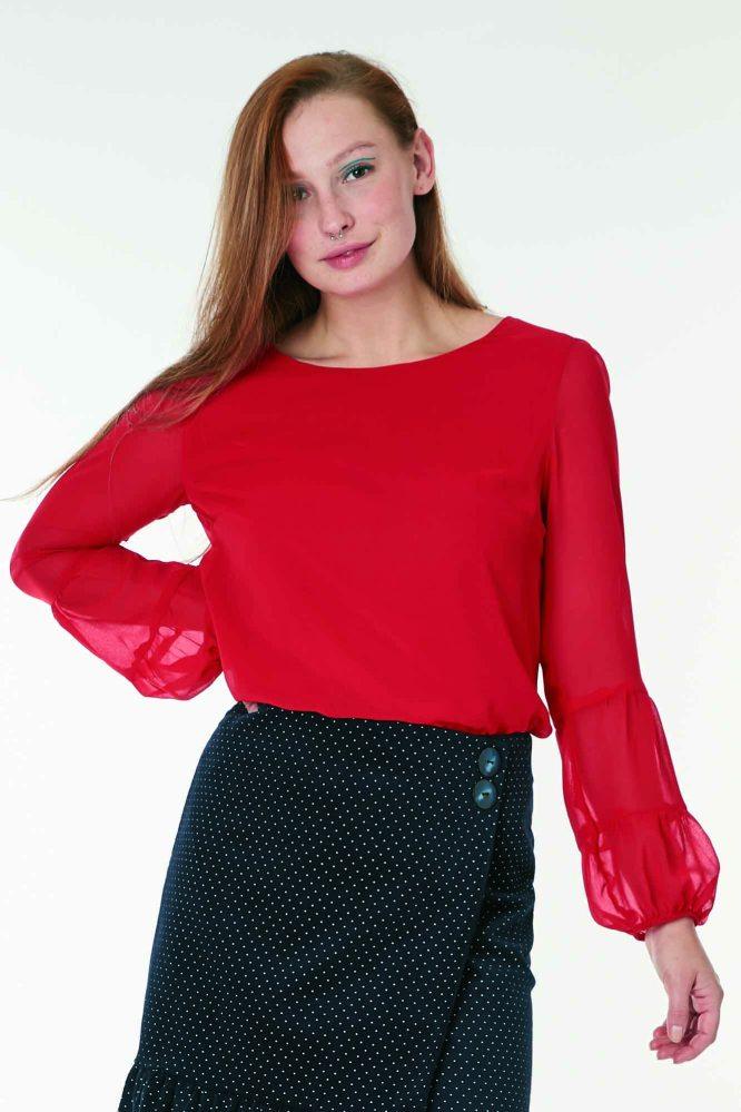 blusa de gasa color rojo