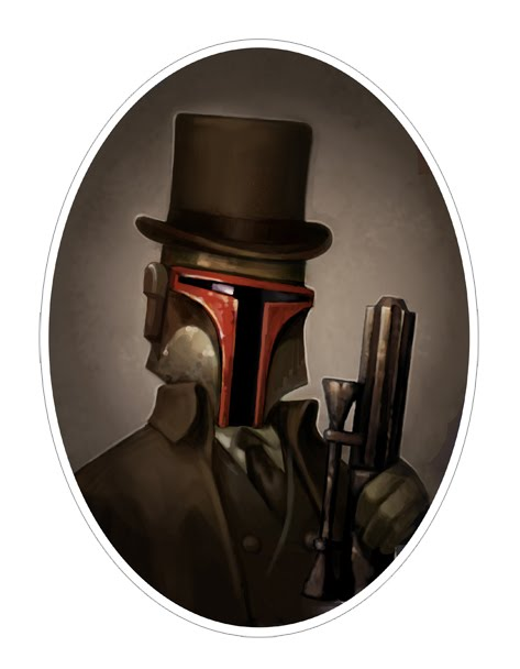 Star Wars Boba victorian portrait drawing 03 portraits of Star Wars characters in Victorian style