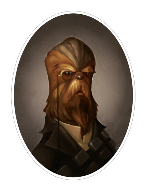 Star Wars Chewbacca 01 victorian portrait drawing portraits of Star Wars characters in Victorian style