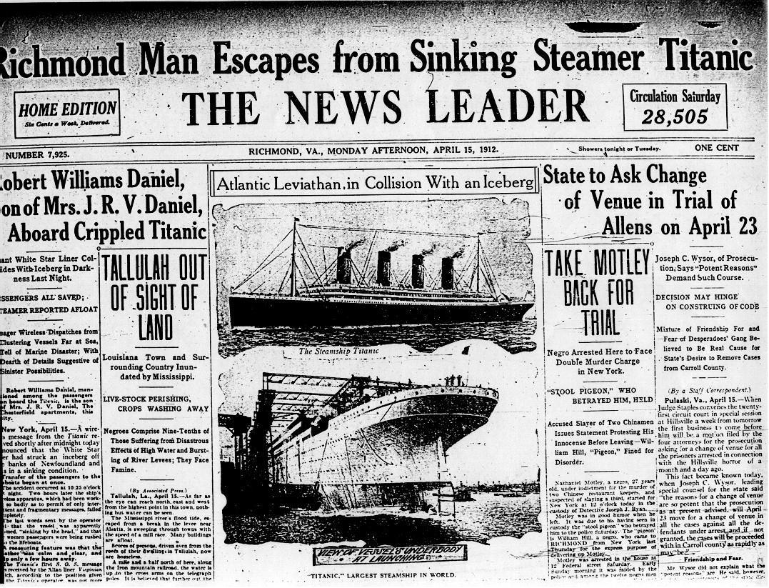 Titanic Journaux Presse Newspaper Couverture Fail 09