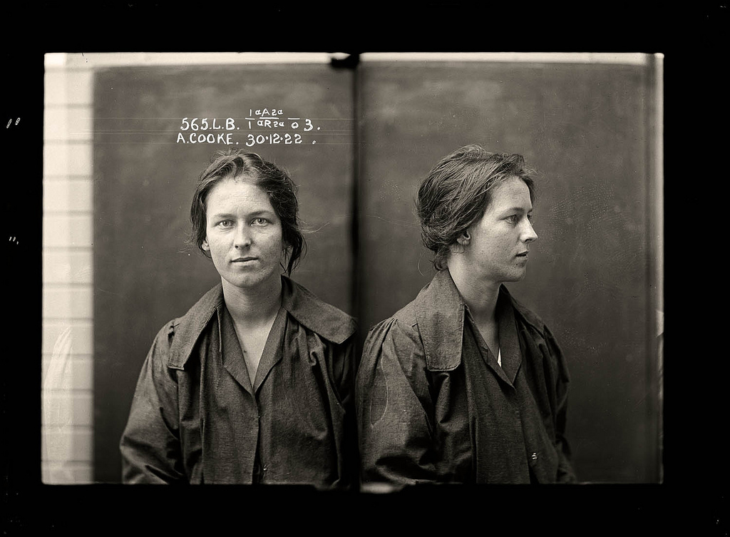 Australian mugshots taken in a Sydney police station in the 1920's