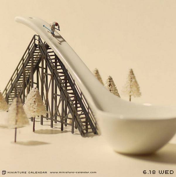 calendrier diorama miniature 06 Un diorama miniature par jour avec des objets détournés