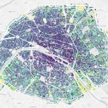 Une carte de l'age des bâtiments de Paris