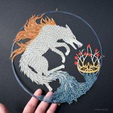 Ghibli en papier délicatement peint et découpé