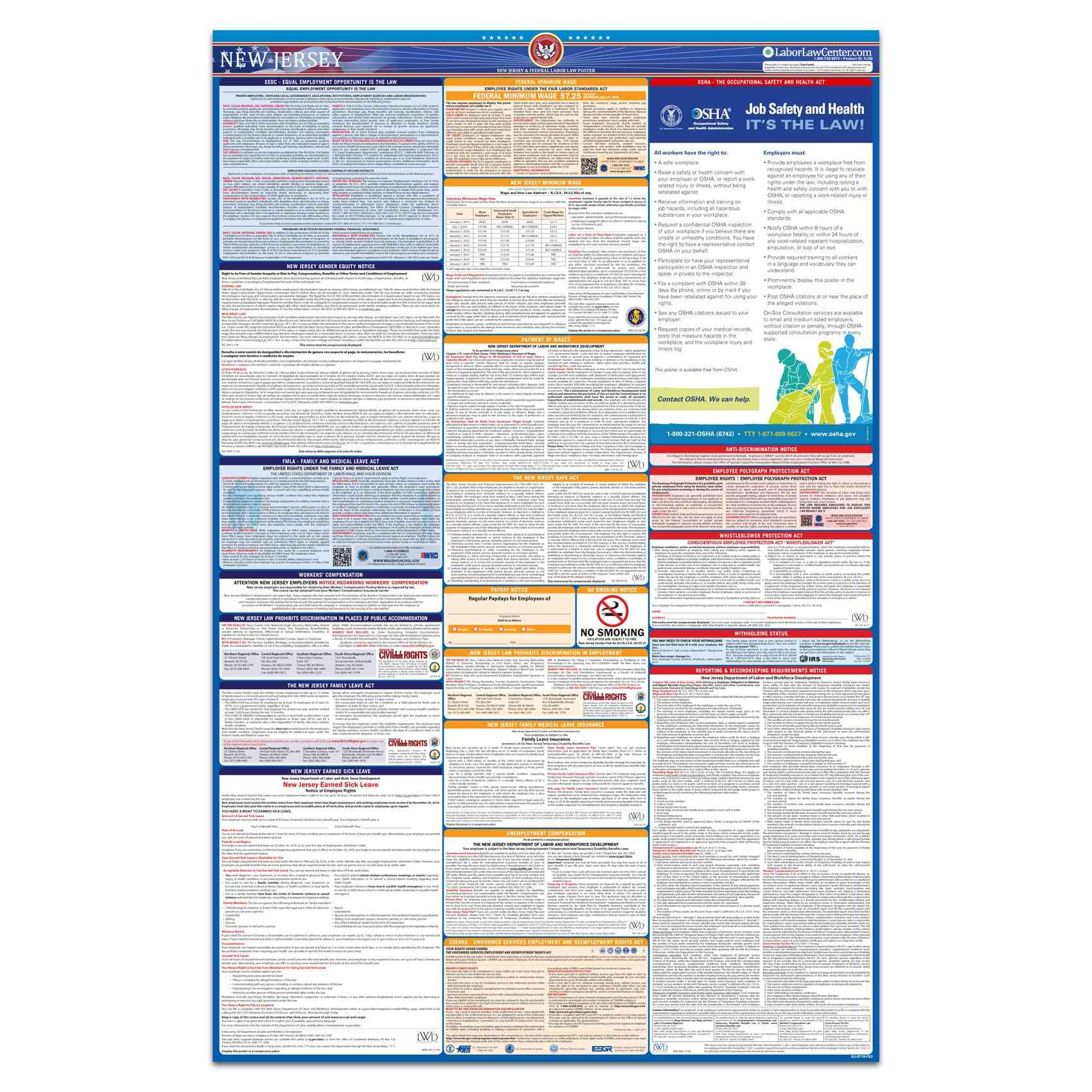 new jersey federal labor law poster 2021 replacement service