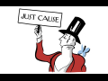 "Cartoon image of New Yorker's mascot (silhouetted man in formal coat, waistcoat, and top hat) but the bird is on his shoulder and he's holding a picket sign that says ""JUST CAUSE"""