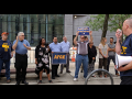 EPA workers protest the government's anti-union directive at a union rally in Manhattan in August.