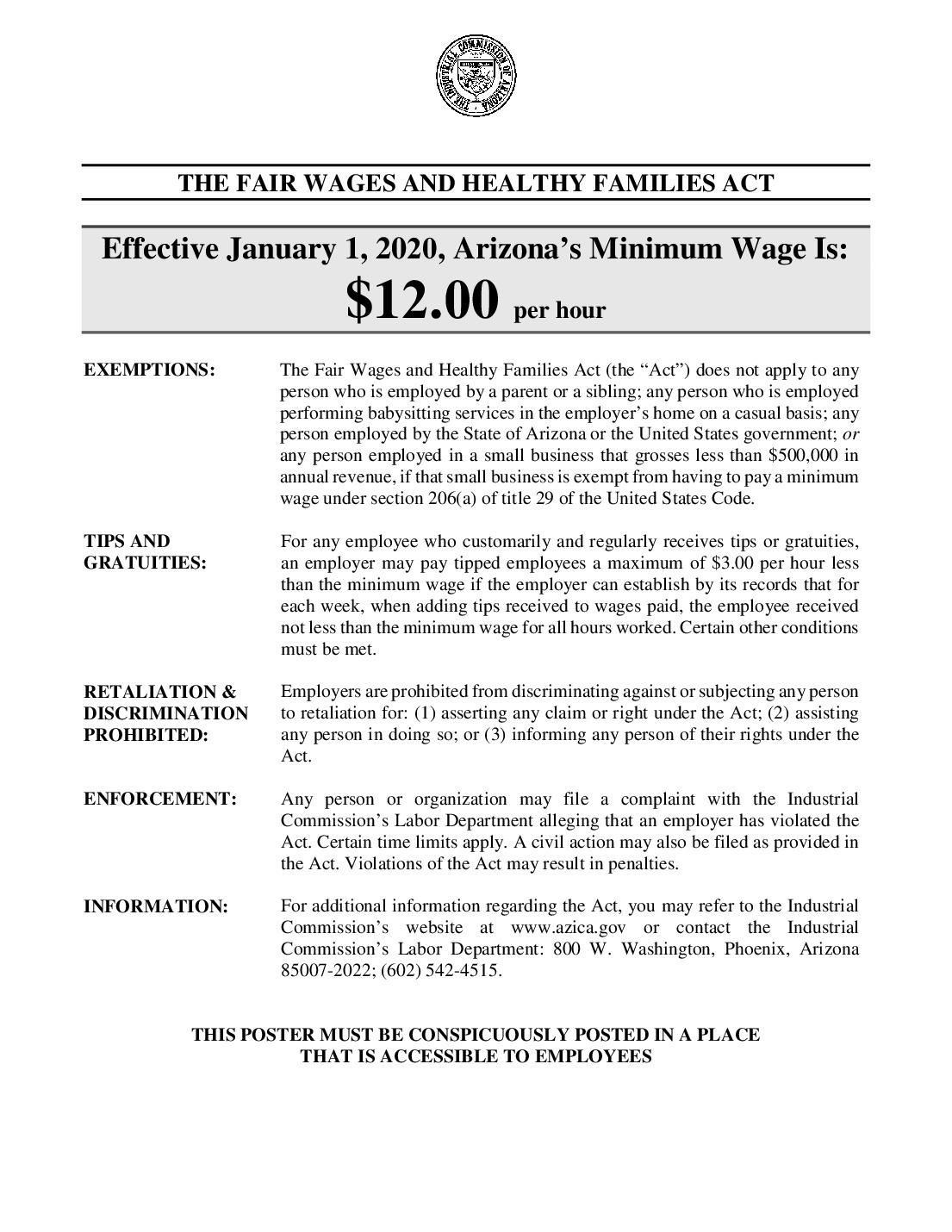 free arizona minimum wage 2021