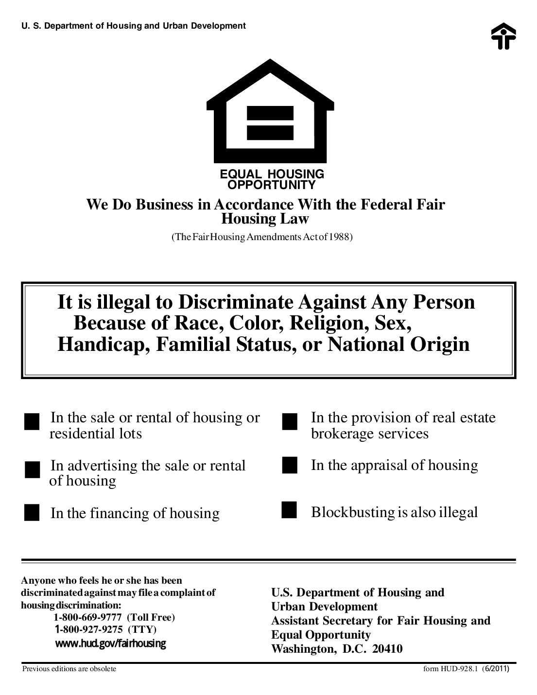 Free Federal Hud Fair Housing Poster Labor Law Poster