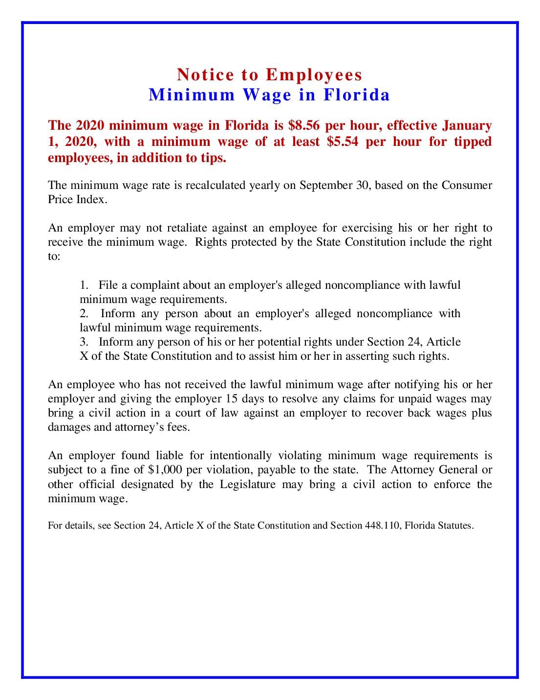 florida minimum wage labor law poster 2021