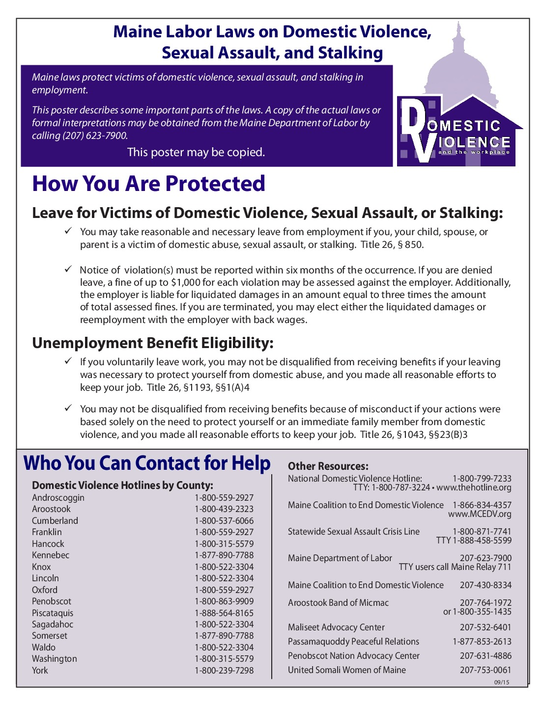 Free Maine Maine Domestic Violence Labor Law Poster