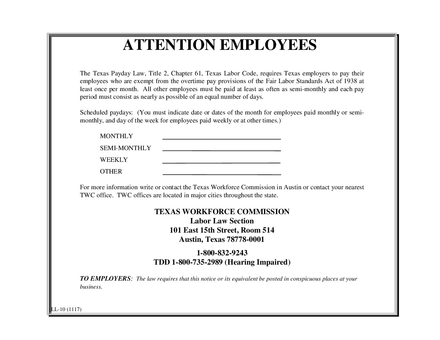 free texas payday law 2021