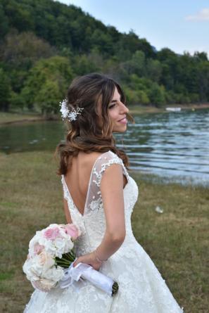 Tralcio con perle e fiori in seta