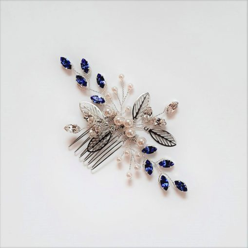 Pettine argentato con navette Swarovski blu