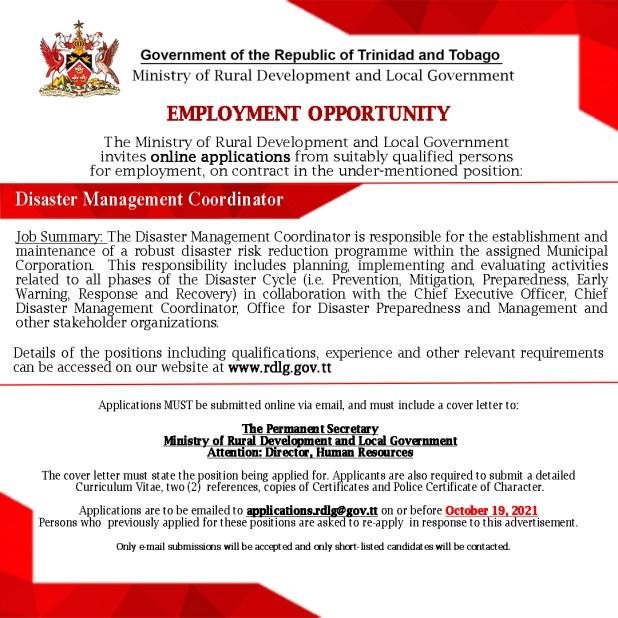 Disaster Management Coordinator Oct 2021