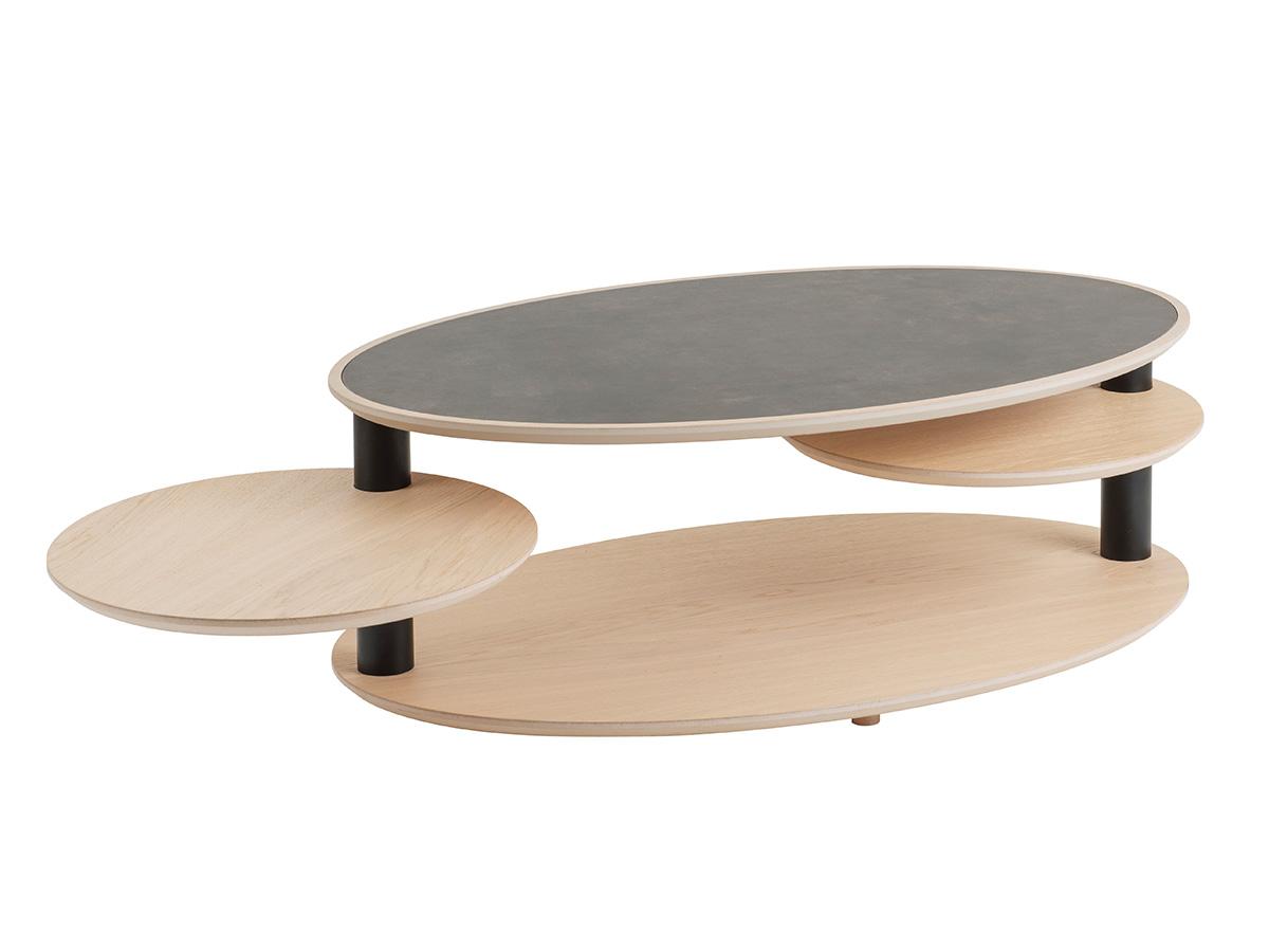 table basse ovale 2 plateaux pivotants