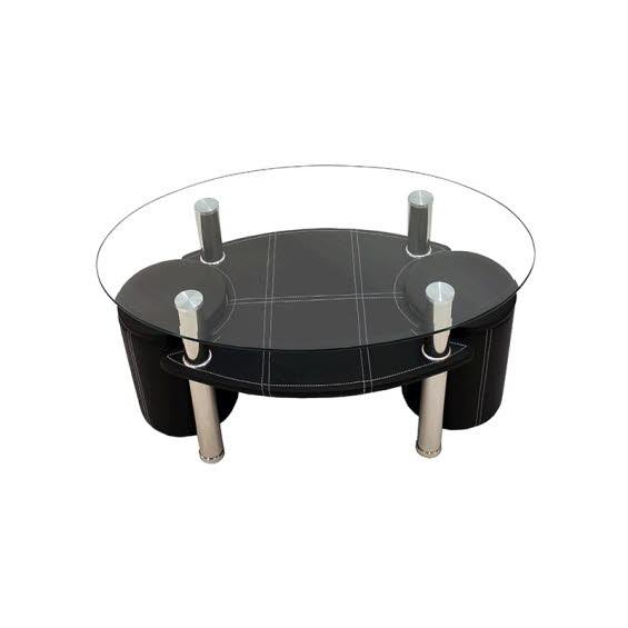 table basse avec 2 poufs pied en metal rembourre simili cuir plateau en verre 243
