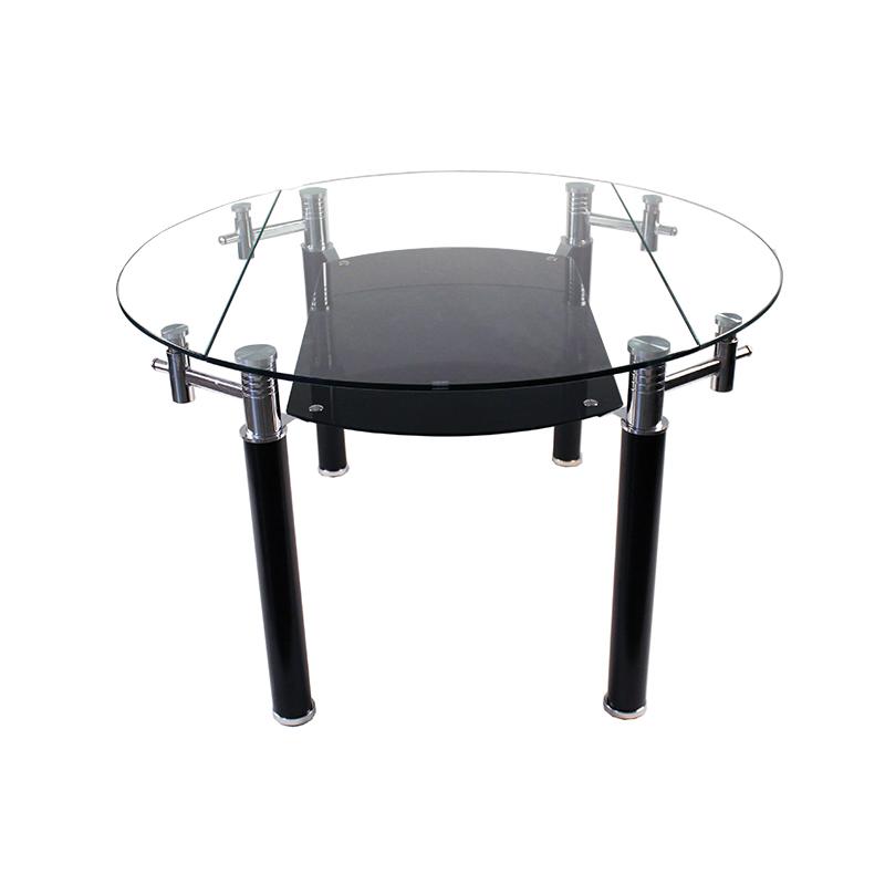 table ronde rallonge pied en metal plateau en verre trempe 589