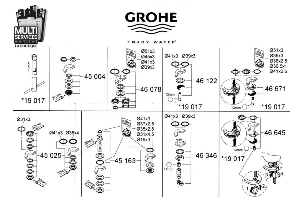 grohe 46122000 jeu de montage pour robinetterie grohe