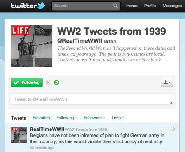 WW2 Tweets from 1939