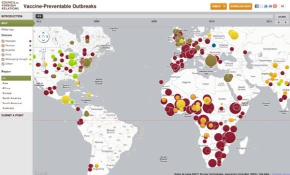 Mapa interactivo enfermedades vacunables