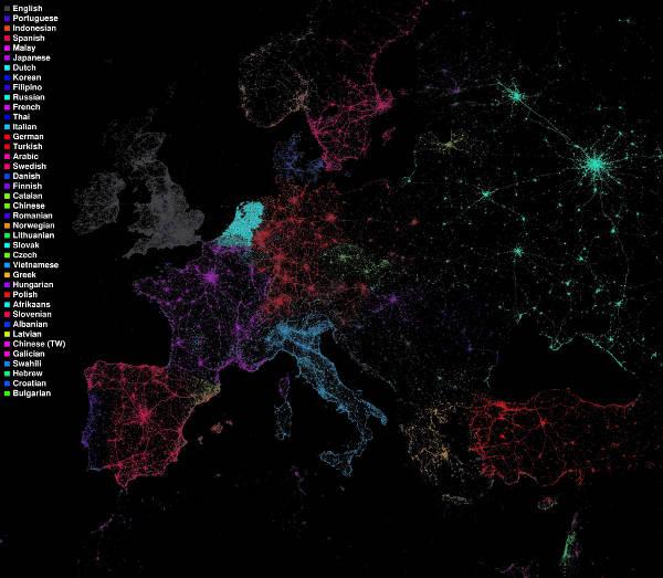 Twitter Flickr mapas Eric Fischer