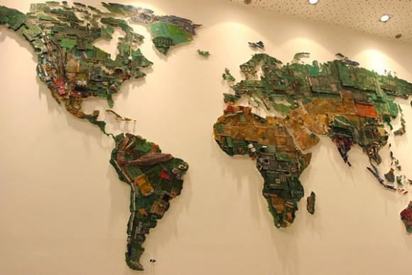 Mapamundi gigante piezas ordenador