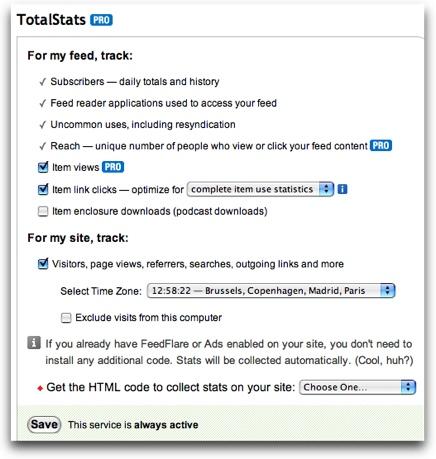 Feedburner TotalStats PRO ya es gratis