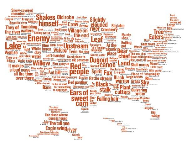 Mapa de nombres de los nativos norteamericanos
